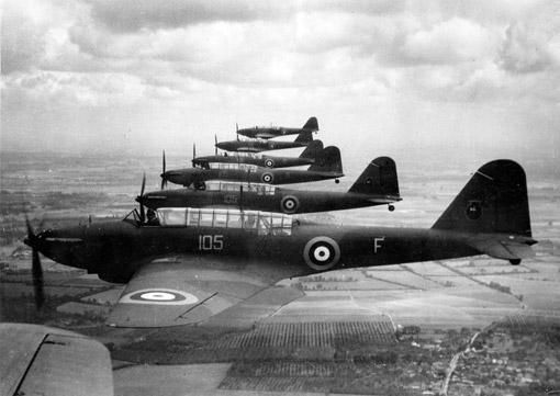 Fairey Battle light bombers in formation