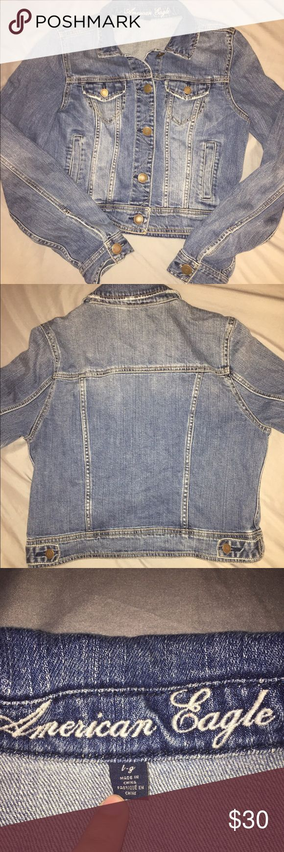 Denim AE Jacket Denim America Eagle jacket. Perfect for layering or dressing down an outfit. Some wear but still in great condition. American Eagle Outfitters Jackets & Coats Jean Jackets