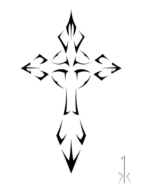 Cross tattoo design --- see that small 'k' - that one