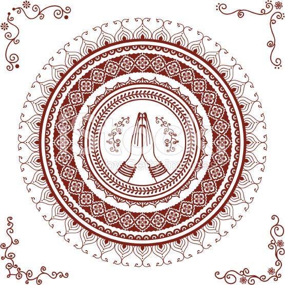 Mehndi Namaste Mandala stock vector art 19563207 - iStock