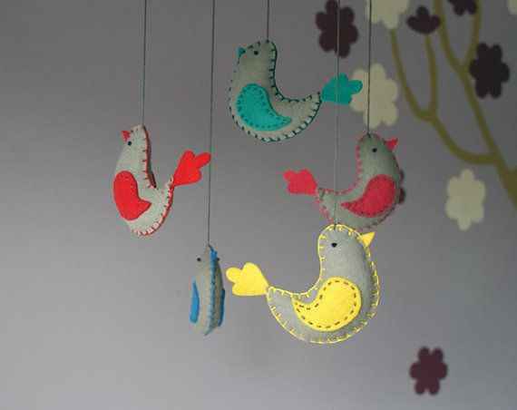 felt birds mobile  baby mobile crib decor  in grey by PrettyPlush, $75.00