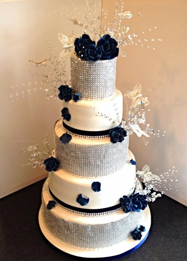 Navy blue  diamond Wedding Cake