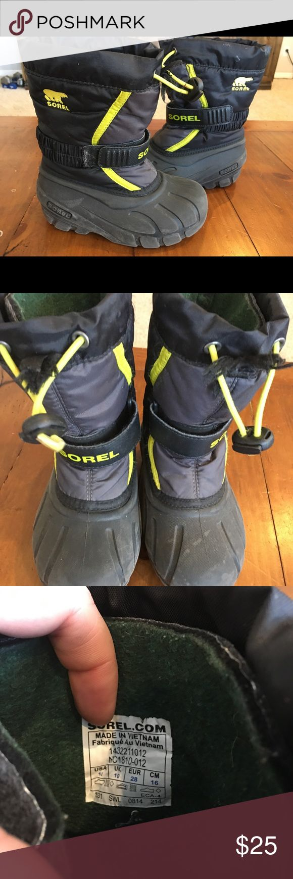 Sorel kids snow boots size 11 Used for 1 winter kids Sorel snow boots. Velcro front and elastic to adjust them. sorel Shoes Rain & Snow Boots