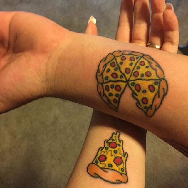 Couple's pizza tattoo by Steven at @bulldogtattooparlor on @mrsdimalanta  Tag us a n your pizza tattoos: @pizzatattoos  #pizzatattoos