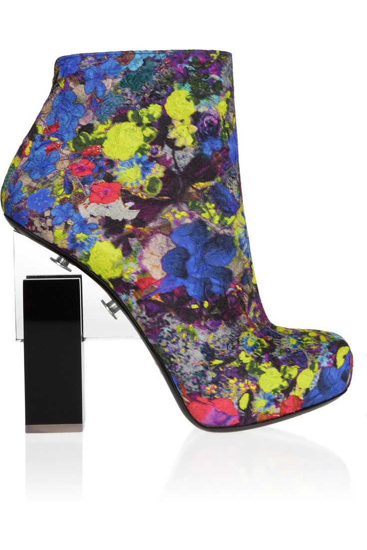Nicholas Kirkwood | for Erdem Geometric-heel printed silk-covered leather ankle boots | NET-A-PORTER.COM