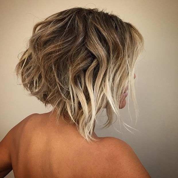 Layered Short Bob Haircut + Front Blonde Balayage Highlights