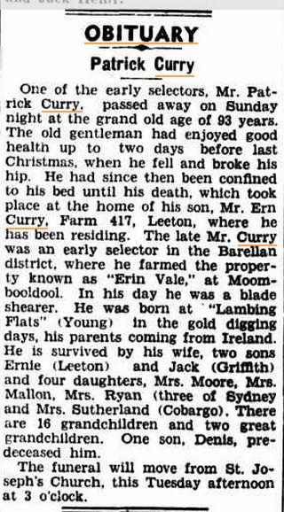 1948 'OBITUARY.', The Murrumbidgee Irrigator (Leeton, NSW : 1915 - 1954), 23 November, p. 2, viewed 5 October, 2015, http://nla.gov.au/nla.news-article156116208