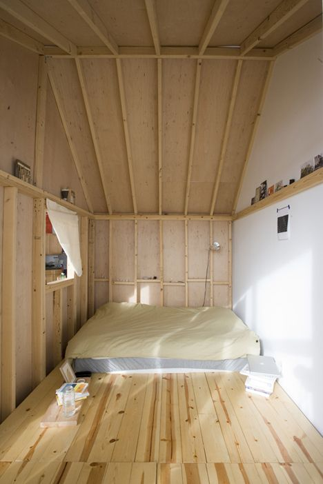 Inside Treehouse & Cabin Turn Brooklyn Loft Into Two-Bedroom SpaceOpen Shelves, Brooklyn Loft, Attic Spaces, Cabin Loft, Places, House, Small Spaces, Bedrooms Interiors, Wood Wall