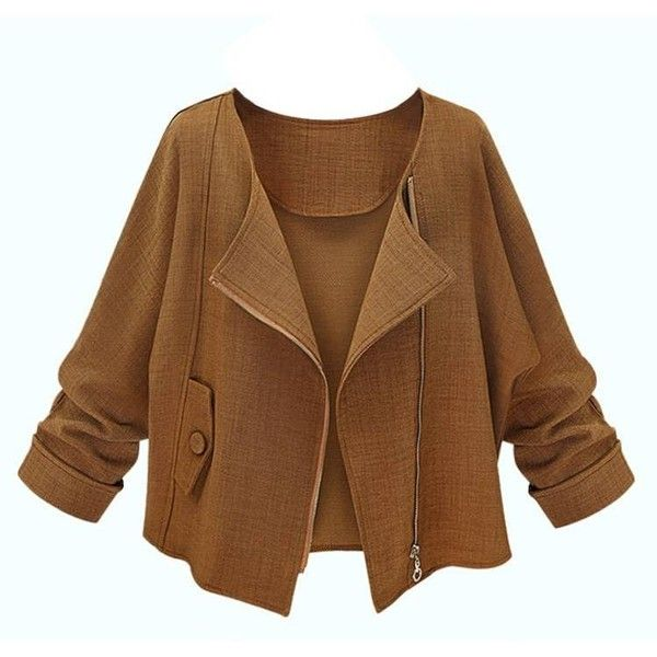 Elegant Loose Brown Long Sleeve Zipper Short Jacket ($23) ❤ liked on Polyvore featuring outerwear, jackets, long sleeve jacket, zip jacket, short jacket, collar jacket ve print jacket