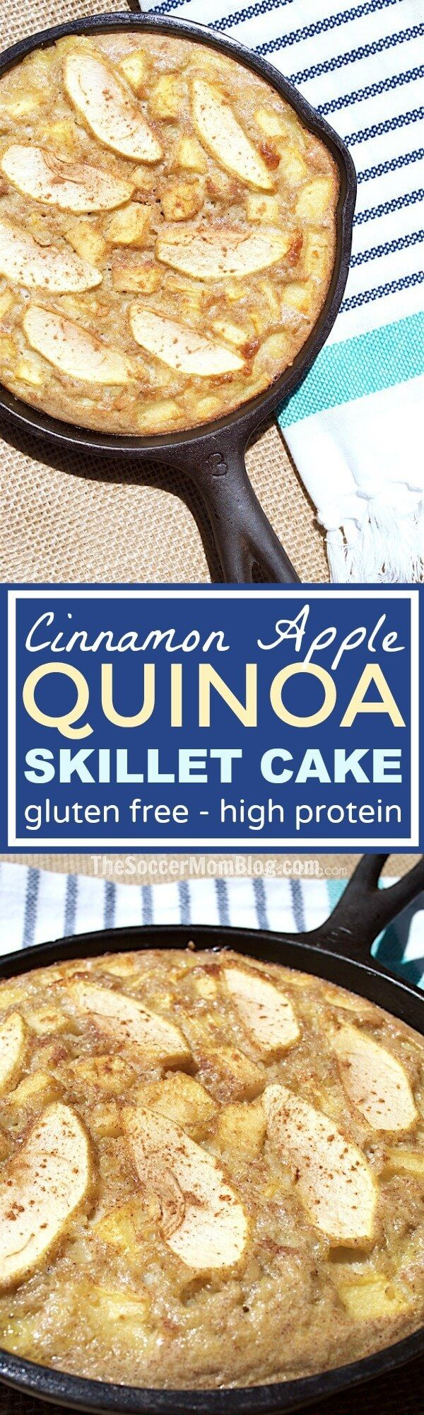 Apple pie gone guilt-free! This quinoa apple cake recipe is packed with protein, plus it's gluten free and lactose free. Easy and gorgeous!