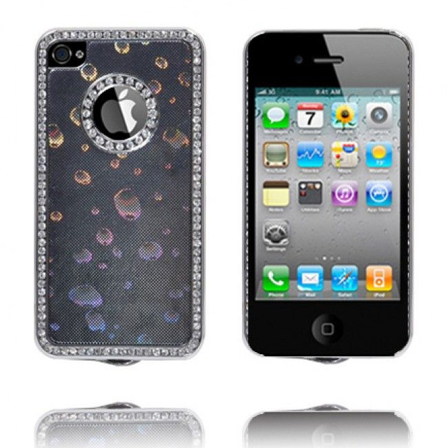 Chrome Edge Bling-Suojakuori (Mustat Kuplat) iPhone 4S Suojakuori - http://lux-case.fi/chrome-edge-bling-suojakuori-mustat-kuplat-iphone-4s-suojakuori.html