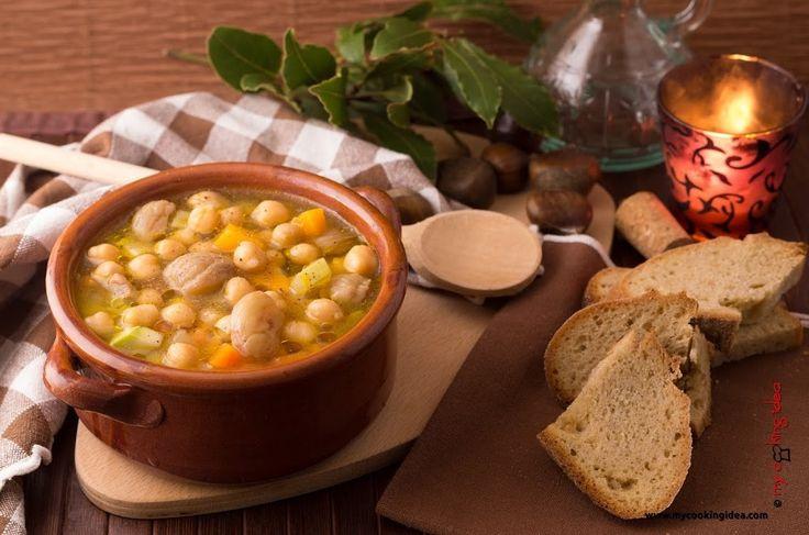 Minestra di ceci e castagne, ricetta - My cooking idea http://www.mycookingidea.com/2014/12/minestra-di-ceci-e-castagne/
