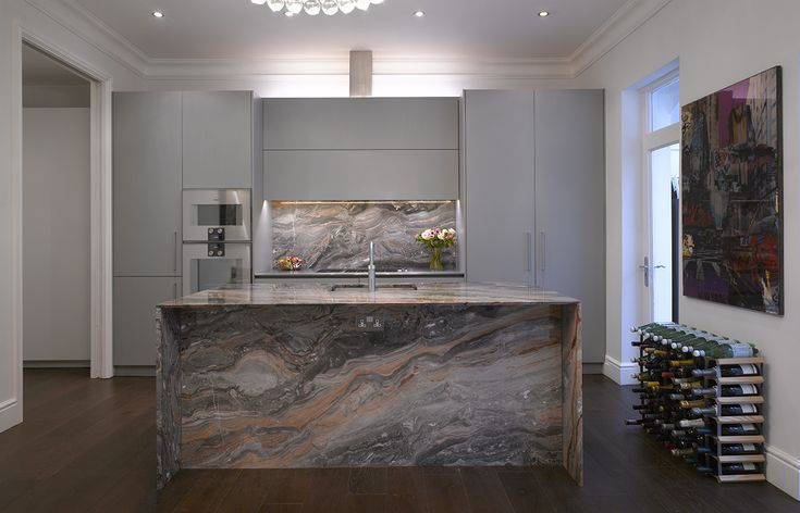 Roundhouse Urbo Grey Matt Lacquer Bespoke Kitchen With Zebrano Island photo - 2
