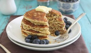 Meyer lemon quinoa pancakes - Running to the Kitchen can sub out eggs and milk to suit our needs