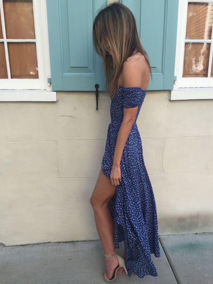Off the shoulder dress.