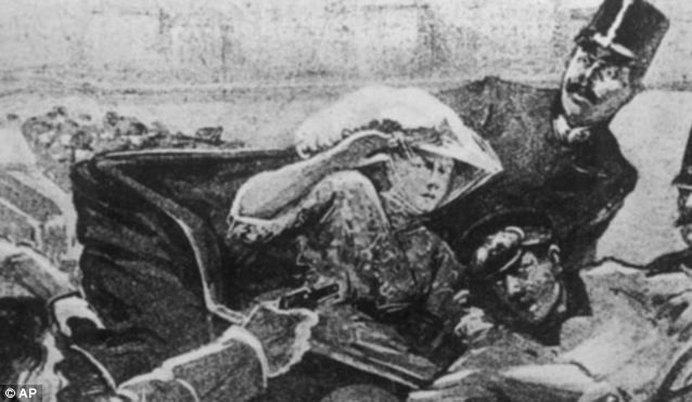 Strike: An artist's impression of the moment when, seconds later, Gavril Princip shot the royal couple