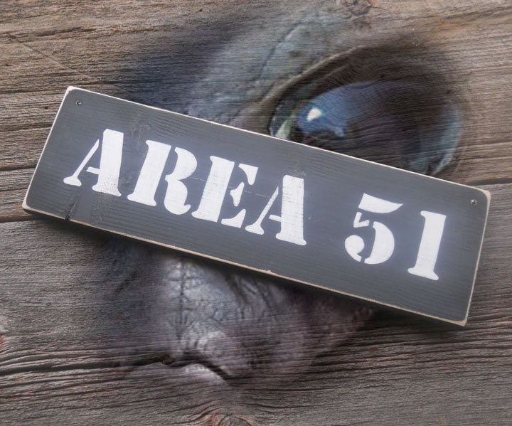 Area 51 Sign Alien Sighting extraterrestrial UFO. $18.50, via Etsy.