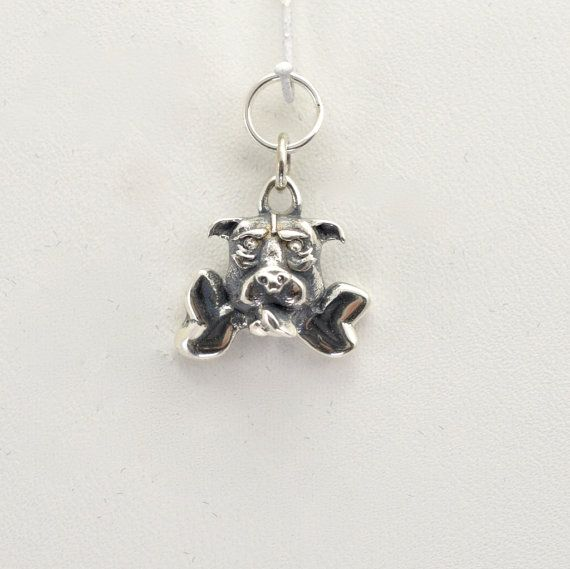 Sterling Silver Pitt Bull Dog Charm by Donna Pizarro from her Animal Whimsey Collection of Fine Dog Jewelry & Pitt Bull Jewelry