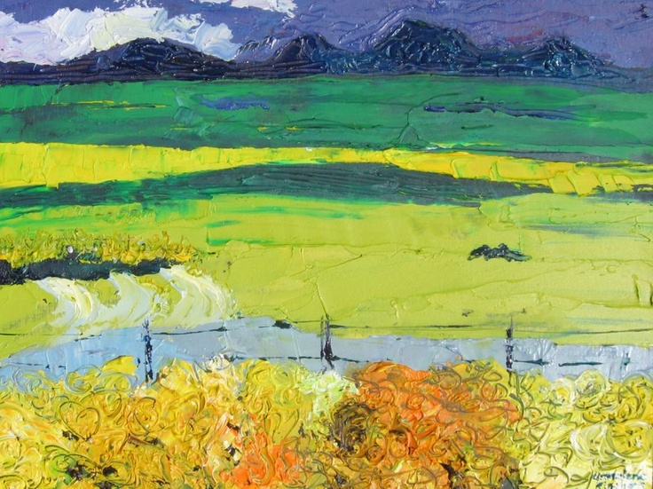Canola fields, Durbanville, acrylic on board