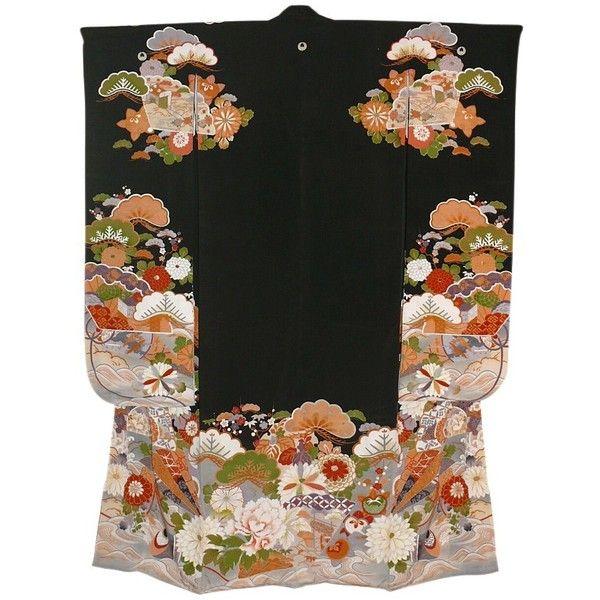 Japanese antique hand-painted silk kimono, 1910-20's. Japanese antique... (69 RUB) ❤ liked on Polyvore featuring intimates, robes, dresses, kimono, antique kimono, silk robe, silk kimono, kimono robe and silk kimono robe