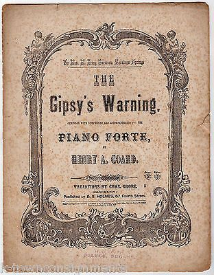 THE GYPSY WARNING PIANO FORTE HENRY COARD ANTIQUE ENGRAVING SHEET MUSIC 1864