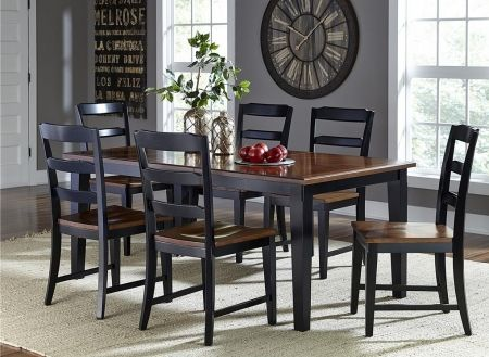 Image of 5505DTBC7 Avalon 7 PC Dining Set with Extendable Dining Table + 6 Dining Chairs with Black Base Dark Cherry Top and