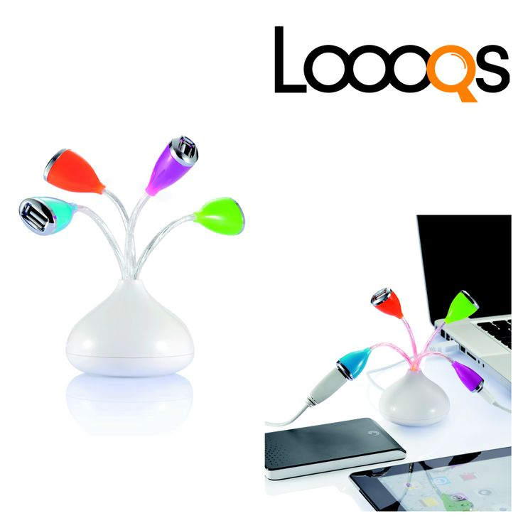 Trendy 4 port flower USB hub. White ABS base with 4 wires which change to red colour when plugged in and ports in orange, blue, pink and green.