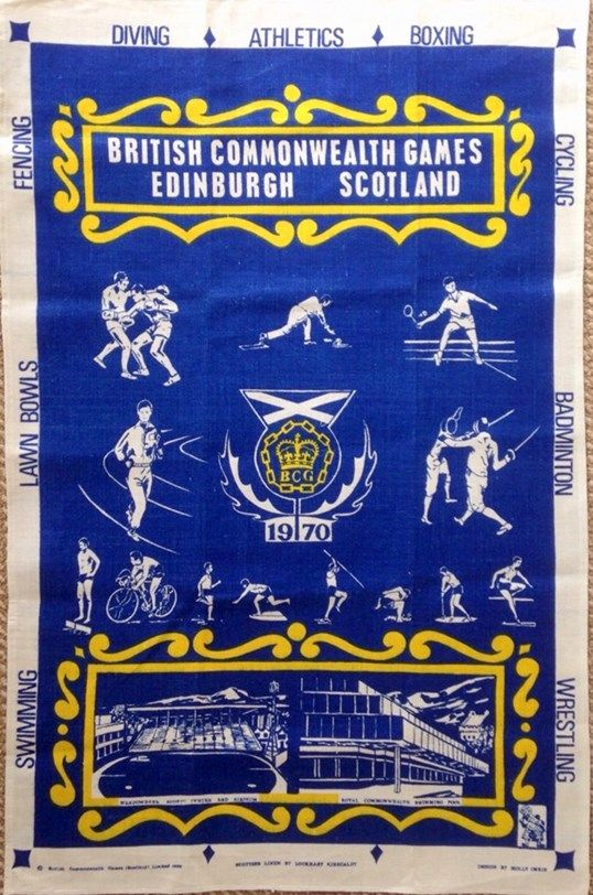 VINTAGE TREASURE - Commonwealth Games 1970 Tea Towel