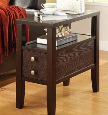 Begonia Espresso Wood Side Table W Drawer End Tables