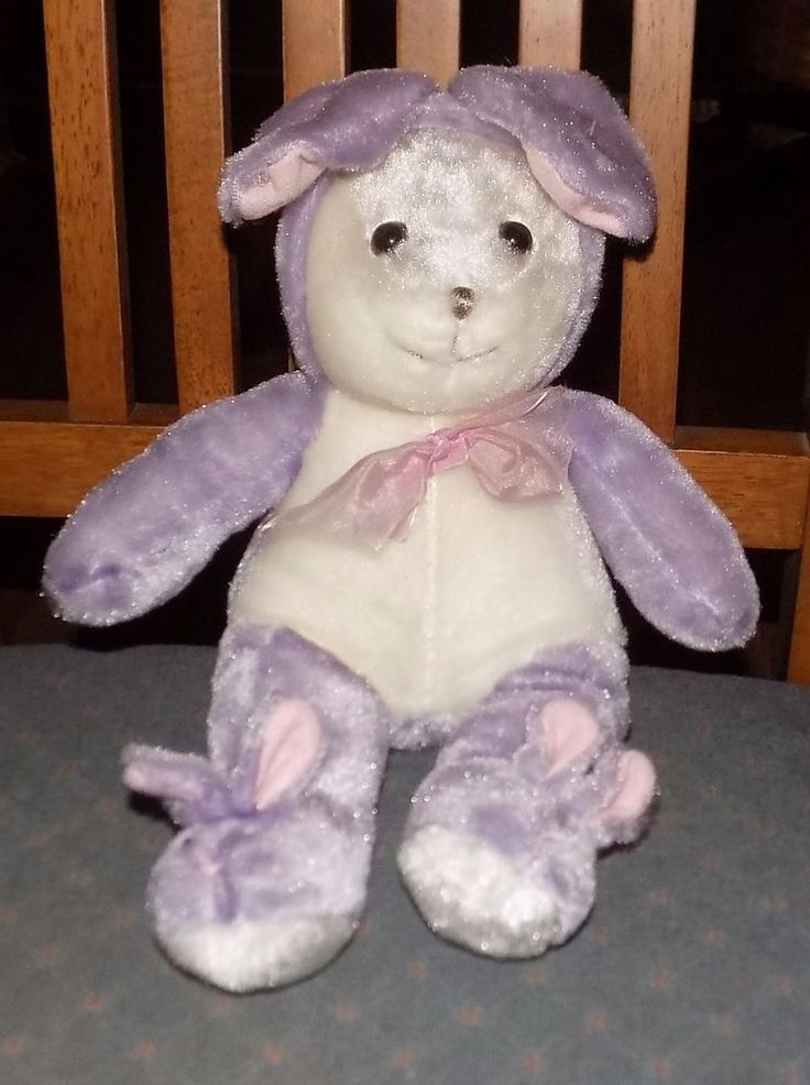 "13"" Plush Appeal Mardi Gras PURPLE White Plush BUNNY Rabbit w/ Bunny Slippers 15 #PlushAppeal"