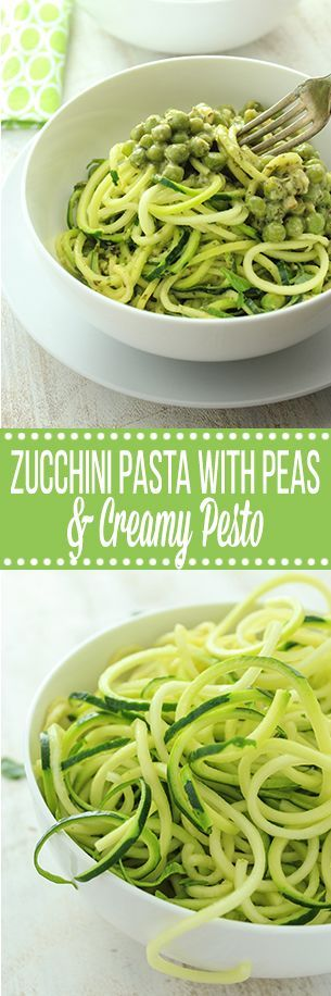 Seriously easy vegan pasta with creamy pesto sauce on top of healthy zucchini noodles. Comes together in under 25 minutes, under 200 calories per serving.