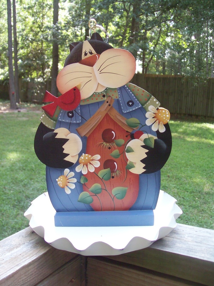 Hand painted Kitty Bird Feeder. $29.95, via Etsy.