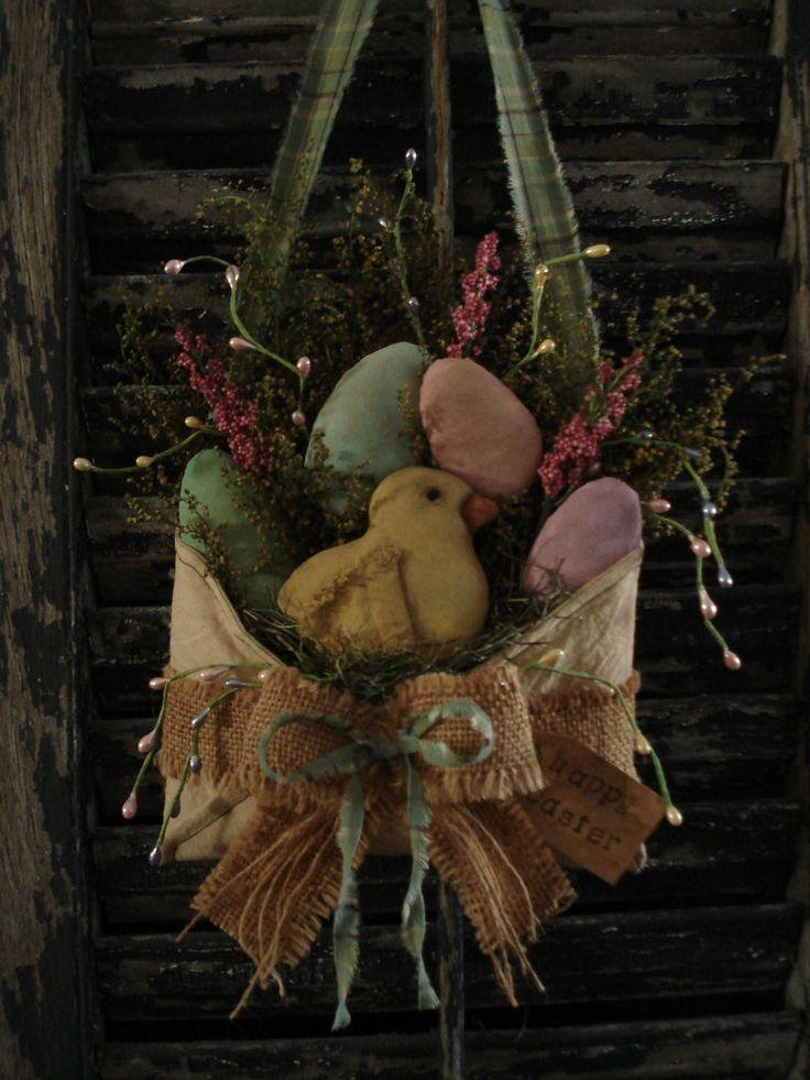 Primitive Chick Easter Egg Envelope Door Hanger NaivePrimitive