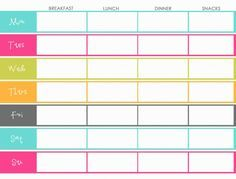 weekly menu planning template- color colorful- breakfast, lunch, dinner, and snacks