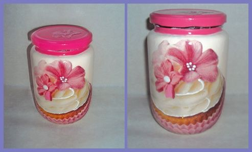 Decoupage on glass jar, cupcake!!