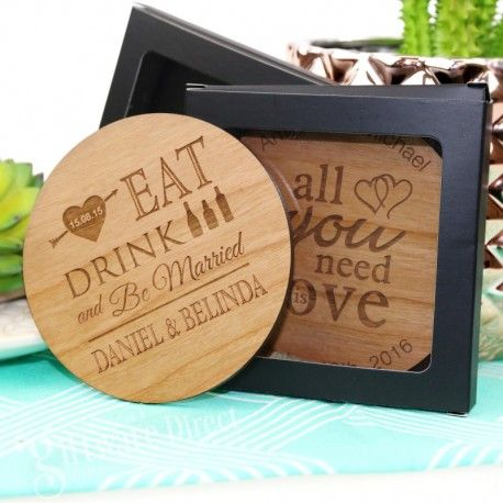 Use them as event tokens? 90mm diam    Laser engraved round wooden wedding coasters, constructed from quality cherry timber and professionally laser cut. Factory direct prices and FREE DELIV AUS WID