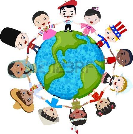 los niños multiculturales en el planeta tierra, la diversidad cultural Foto de archivo