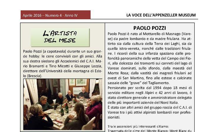 Aprile 2016, n.4, La Voce dell'Appenzeller Museum – Paolo Pozzi, L'artista del mese