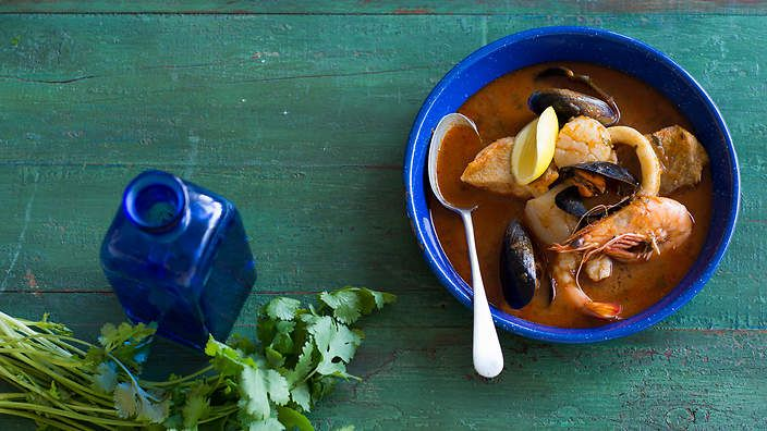 Fragrant, spicy and loaded with #seafood, parihuela is Peru's answer to bouillabaisse. Listen to the audio recipe.