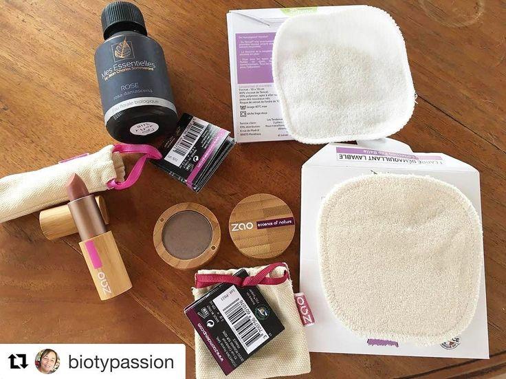 🌸🌸🌸 #Repost @biotypassion with @repostapp ・・・ Commande @douxgood : eau de rose #mesessentielles, rouge à lèvres nude et fard à paupières gris brun @zaomakeup_official. Merci pour les deux cotons lavables @lestendancesdemma en cadeau !!!