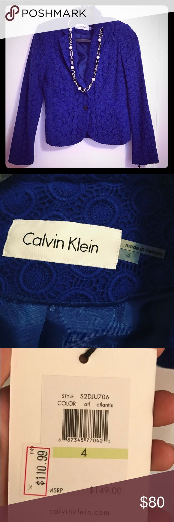 NWT Calvin Klein Royal Blue Blazer! Take home this beautiful blue blazer, new with tags! Stand out from the crowd while looking fashionable and sophisticated in this royal blue, textured Calvin Klein blazer. Calvin Klein Jackets & Coats Blazers