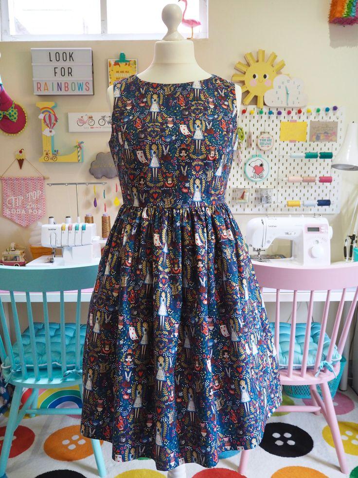 Made to Order Alice in Wonderland Dress - Ladies Handmade Dress - Rifle Paper Co Wonderland Fabric