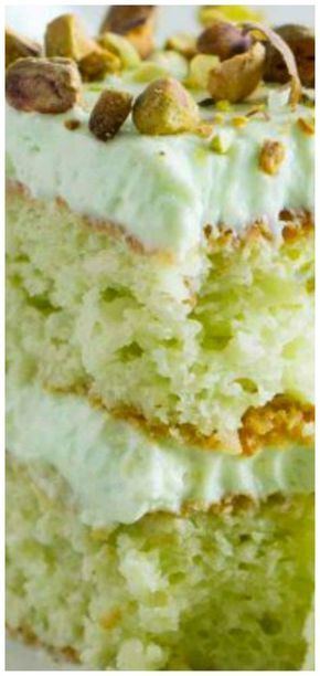 Coconut and Pistachio Pudding Cake ~ Moist and flavorful... Topped with a creamy pistachio cream cheese frosting