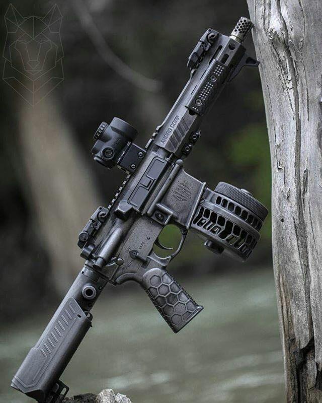 WEBSTA @ daily_badass - @badassmedia's @AndroCorpInd AR15 Pistol with @SLRRifleWorks Ti Muzzle Brake