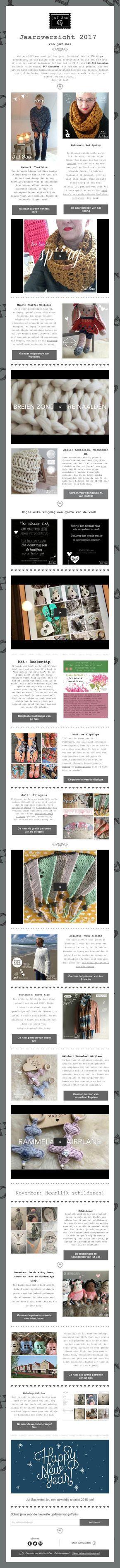 Jaaroverzicht 2017 #jufsas #haken #gratispatroon #creatief #crochet #overzicht #nieuwsbrief #webshop #col #kol #trui #breien #knitting #hakeniship #hakenisleuk #shawl #armbreien #lontwol #knuffel #amigurumi #migurumidoll #amigurimist #doll #virka #häckeln #handmade #pop #jufsascom