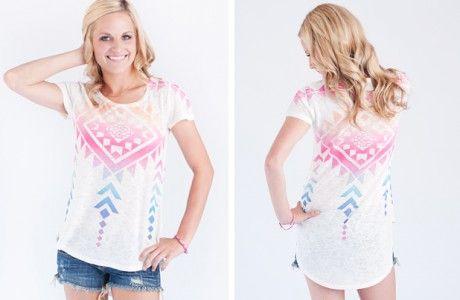Neon Aztec Short Sleeve Tops