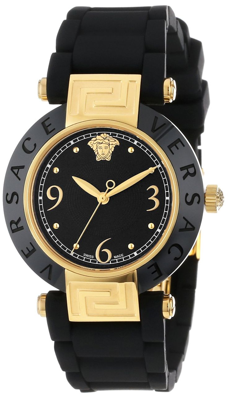 Best Rated Watches 5: Versace Women's 92QCP9D008 S009 Reve Ceramic Bezel Gold Ion-Plating Black Rubber Watch, via best watch brands 2013 https://www.youtube.com/watch?v=gtnhAIjkBk4