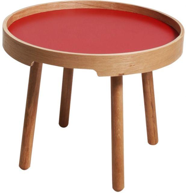 """""""De salontafel rond Roky is een klassiek tafeltje met een erg modern uiterlijk. Het is een tafeltje dat dicht bij de grond staat maar een groot tafelblad heeft waardoor u al uw spullen kwijt kunt op de tafel. De bijzettafel rond is verkrijgbaar in 3 verschillende hoogtes en in de kleuren rood wit en zwart."""""""
