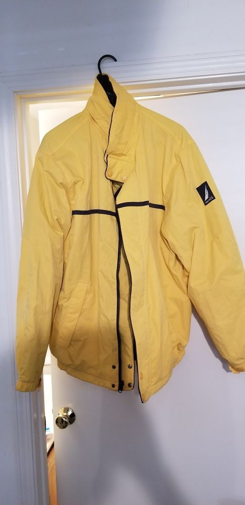 243ae49ba3fbb Nautica Mens Jacket Reversible Yellow Blue Hoodie Pockets Zipped Men Size XL   Nautica  Overcoat