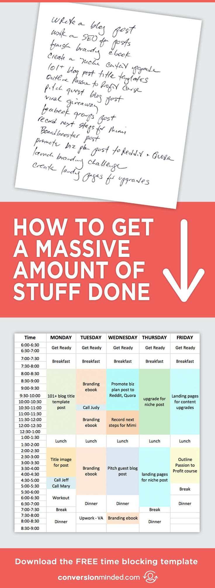 How to Stay Super Productive + Get a Massive Amount of Stuff Done | Ready to turn your to-do list into an Action Plan? This guide for entrepreneurs and bloggers will help you prioritize goals and tasks. It also includes my secret productivity weapon – the Time Block Template.